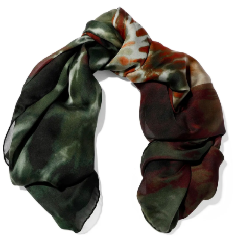 Valentino tie-dye silk-chiffon scarf, US$260, Approx S$360 (was US$521). PHOTO: The Outnet