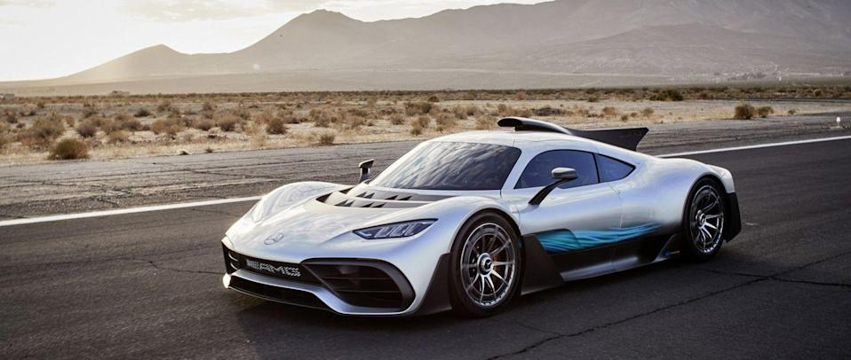 <p>What happens when you put an F1 engine into a road car? We'll find out soon enough when the AMG-One arrives this spring. Yes, using the same the same 1000hp 1.6-litre turbocharged V6 hybrid engine that Lewis Hamilton used to win the 2015 F1 world championship, this will be a hypercar that can legitimately be called unique. </p><p>F1 technology has also influenced aerodynamics, handling and suspension. Hamilton is also reported to be a big fan, having helped develop the original engine and driven the finished article during campaign filming. Unlike the F1 car, the One will also be able to run on purely electric power. Two sister models are also set to join it in AMG's E Performance division.</p>