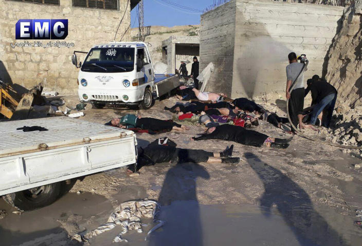 <p>This photo provided Tuesday, April 4, 2017 by the Syrian anti-government activist group Edlib Media Center, which has been authenticated based on its contents and other AP reporting, shows victims of a suspected chemical attack, in the town of Khan Sheikhoun, northern Idlib province, Syria. The suspected chemical attack killed dozens of people on Tuesday, Syrian opposition activists said, describing the attack as among the worst in the country's six-year civil war. (Edlib Media Center, via AP) </p>