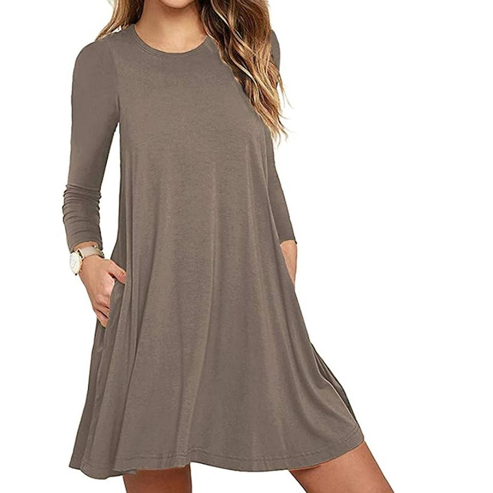 Unbranded Women's Long Sleeve Pocket Casual Loose T-Shirt Dress (Photo: Amazon)