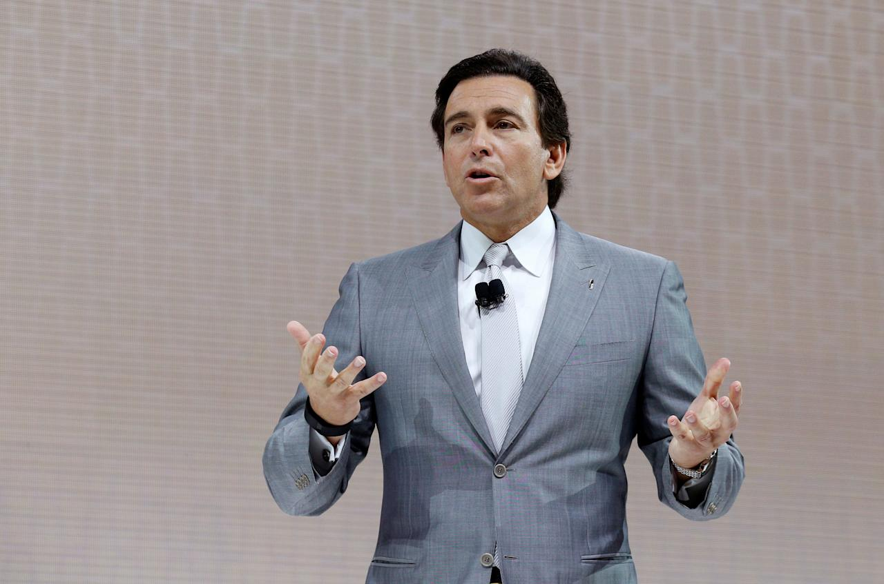 FILE PHOTO: Ford Motor Company CEO Mark Fields speaks at the 2017 New York International Auto Show in New York City, U.S. April 12, 2017. REUTERS/Brendan Mcdermid/File Photo     TPX IMAGES OF THE DAY