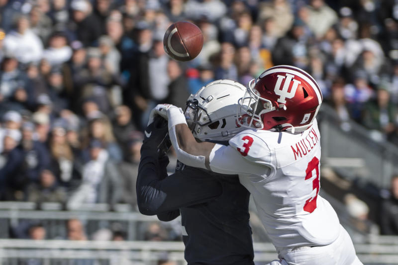Indiana defensive back Tiawan Mullen (3) breaks up a pass intended for Penn State wide receiver KJ Hamler (1) in the first quarter of an NCAA college football game in State College, Pa., on Saturday, Nov.16, 2019. (AP Photo/Barry Reeger)