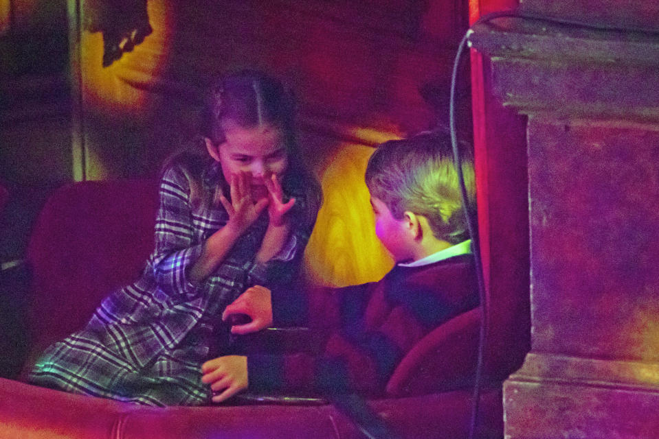 LONDON, ENGLAND - DECEMBER 11: Princess Charlotte and Prince George attend a special pantomime performance at London's Palladium Theatre, hosted by The National Lottery, to thank key workers and their families for their efforts throughout the pandemic on December 11, 2020 in London, England. (Photo by  Aaron Chown - WPA Pool/Getty Images)