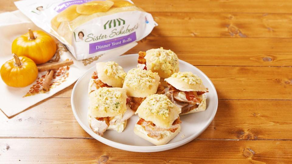 """<p>Good luck eating just one!</p><p>Get the recipe from <a href=""""https://www.delish.com/cooking/recipe-ideas/a29515552/turkey-bacon-ranch-sliders-recipe/"""" rel=""""nofollow noopener"""" target=""""_blank"""" data-ylk=""""slk:Delish"""" class=""""link rapid-noclick-resp"""">Delish</a>.</p>"""