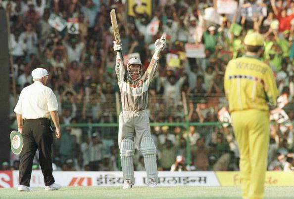 11 Mar 1996:  Chris Harris of New Zealand salutes the crowd as he reaches his century during the World Cup Quarter Final between Australia and New Zealand played in Madras, India. Mandatory Credit: Shaun Botterill/ALLSPORT