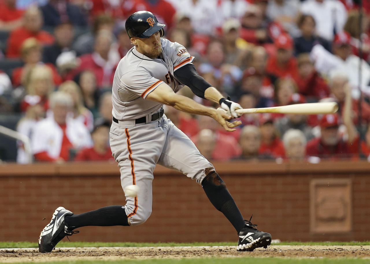 San Francisco Giants' Hunter Pence (8) strikes out during the seventh inning of Game 3 of baseball's National League championship series against the St. Louis Cardinals, Wednesday, Oct. 17, 2012, in St. Louis. (AP Photo/David J. Phillip)