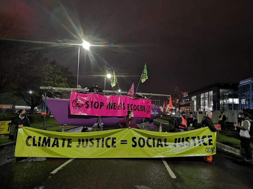 Extinction Rebellion activists protest with face masks and in groups of six or less at Ineos's Grangemouth facility - home to Scotland's only crude oil refinery (XR Scotland)