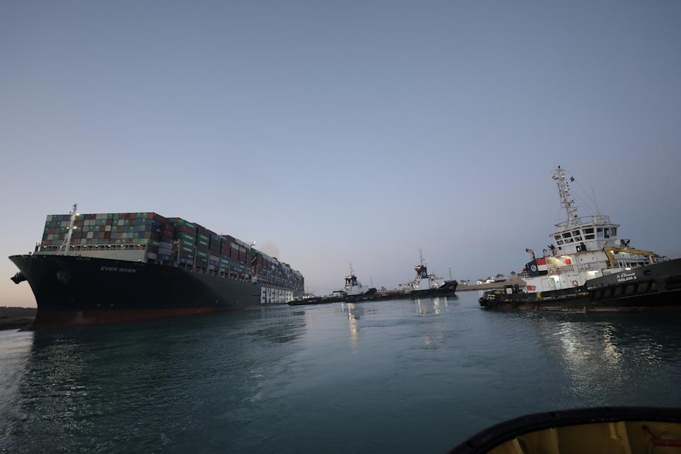 A view shows the container ship Ever Given, one of the world's largest container ships, after it was partially refloated, in Suez Canal, Egypt.