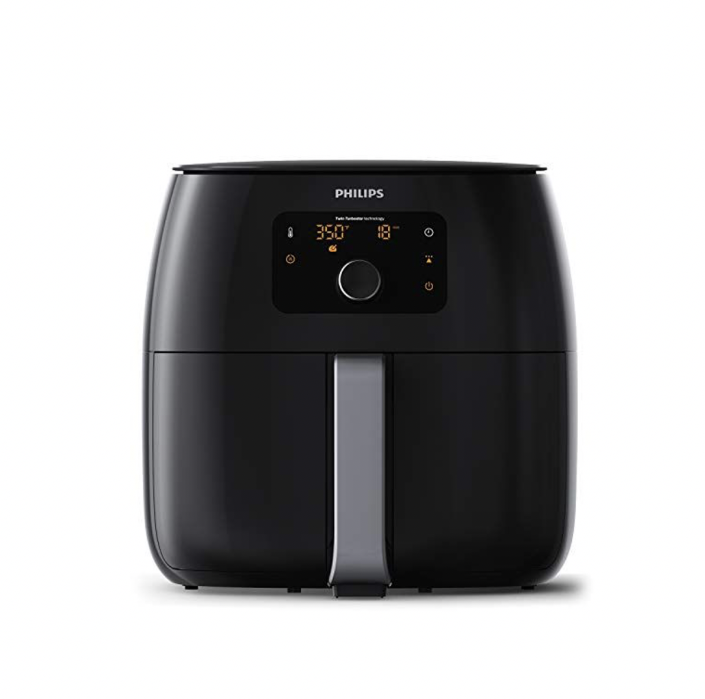 """<p><strong>Philips Kitchen Appliances</strong></p><p>amazon.com</p><p><strong>$339.95</strong></p><p><a href=""""https://www.amazon.com/dp/B07G3V9K17?tag=syn-yahoo-20&ascsubtag=%5Bartid%7C2142.g.36364738%5Bsrc%7Cyahoo-us"""" rel=""""nofollow noopener"""" target=""""_blank"""" data-ylk=""""slk:Shop Now"""" class=""""link rapid-noclick-resp"""">Shop Now</a></p><p>Though it skews more expensive in price, Philips's Digital Twin TurboStar XXL is the only air fryer out there with fat reduction technology. This device not only removes fat, but it captures excess fat as well, making it a savvy choice for those keen on making healthier choices. </p>"""