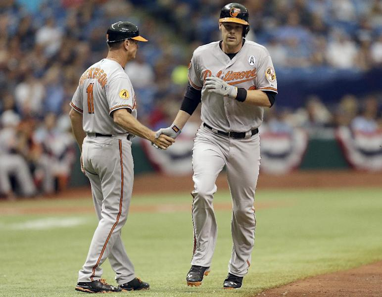 Baltimore Orioles catcher Matt Wieters (32) shakes hands with third base coach Bobby Dickerson (11) after hitting a first inning, two-run home run off Tampa Bay Rays starting pitcher David Price during an opening day baseball game Tuesday, April 2, 2013, in St. Petersburg, Fla. (AP Photo/Chris O'Meara)