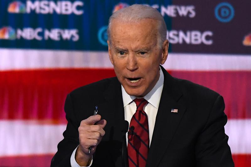 Democratic presidential hopeful former Vice President Joe Biden speaks during the ninth Democratic primary debate of the 2020 presidential campaign season co-hosted by NBC News, MSNBC, Noticias Telemundo and The Nevada Independent at the Paris Theater in Las Vegas, Nevada, on February 19, 2020. (Photo by Mark RALSTON / AFP) (Photo by MARK RALSTON/AFP via Getty Images)