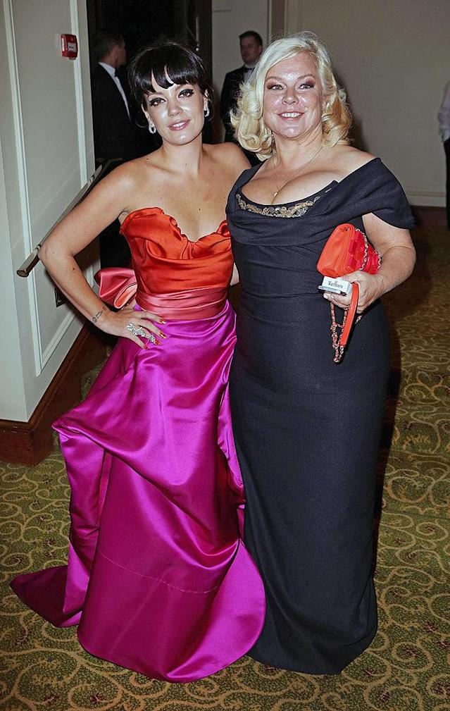 <p>Lily Allen (L) and mother Alison Owen attend the official dinner party after the EE British Academy Film Awards at The Grosvenor House Hotel on February 16, 2014 in London, England. </p>