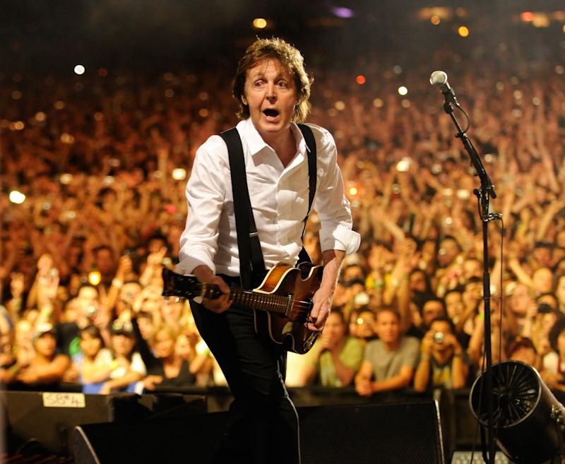 Paul McCartney performs at the Coachella Music and Arts Festival at the Empire Polo Field on April 17, 2009 in Palm Desert, California.