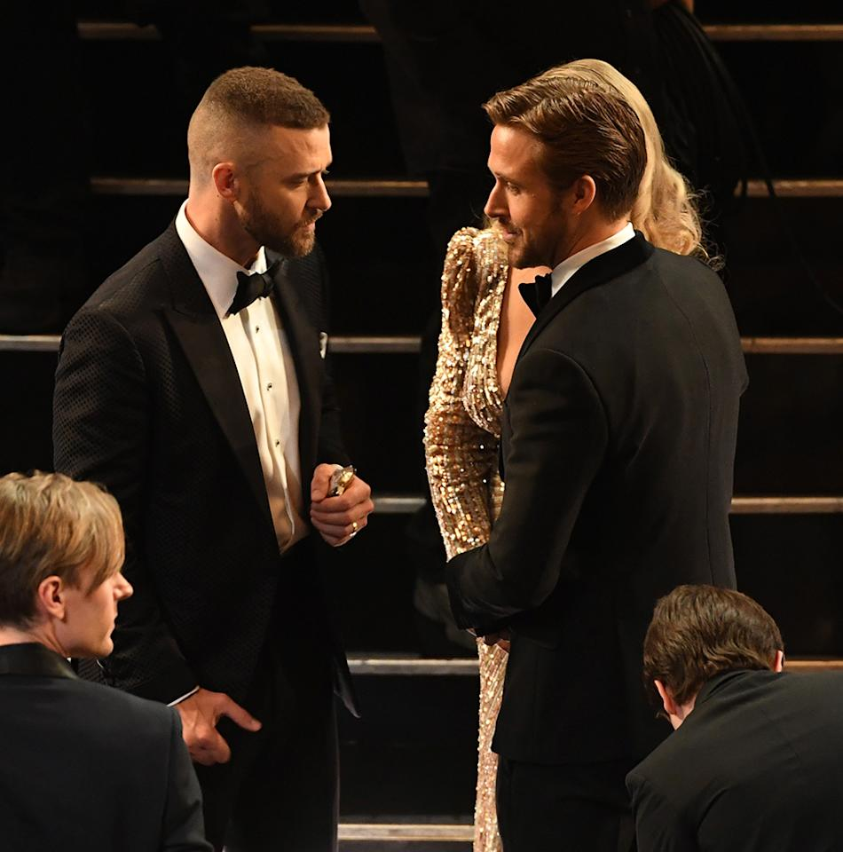 "<p>While co-starring on <i>The Mickey Mouse Club</i>, the future heartthrobs were as close as brothers for a short time. ""Funny enough, his mother had to keep her job in Canada the second year that we were on the television show and my mom was his guardian for like six months,"" Timberlake told Ellen DeGeneres back in 2011. In fact, JT confessed the two once ""<a rel=""nofollow"" href=""http://www.dailymail.co.uk/tvshowbiz/article-2053843/Justin-Timberlake-Ryan-Gosling-roommate-Mickey-Mouse-Club-years.html"">stole a golf cart</a>""! They've stayed friends, but the two are kinda busy these days. (Photo: Kevin Winter/Getty Images) </p>"