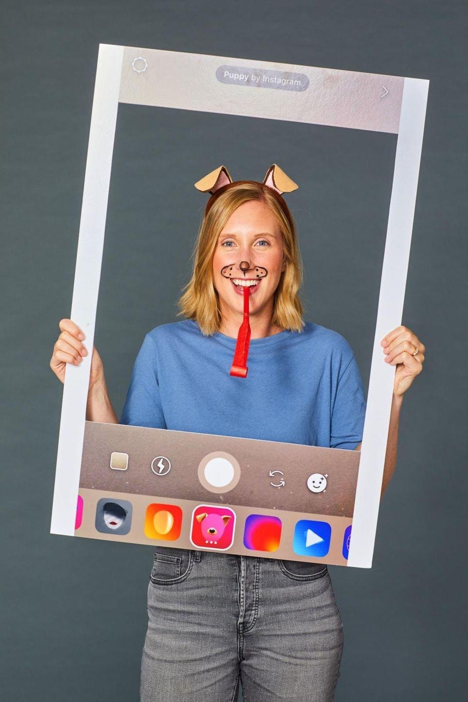 """<p>Make your favorite Instagram filter come to life with this last-minute costume. Start by pulling up Instagram stories on your phone and selecting the dog filter. Then, point the phone at a blank surface like a wall, and take a screenshot. Print the screenshot on a thick board and cut out the middle to fit your face. Finish it off by adding makeup and accessories to mirror the filter's. </p><p><a class=""""link rapid-noclick-resp"""" href=""""https://www.amazon.com/Animal-Brown-Headband-Costume-Accessory/dp/B07HHBQQMP/?tag=syn-yahoo-20&ascsubtag=%5Bartid%7C10055.g.2750%5Bsrc%7Cyahoo-us"""" rel=""""nofollow noopener"""" target=""""_blank"""" data-ylk=""""slk:SHOP DOG EARS"""">SHOP DOG EARS </a></p><p><strong>RELATED</strong>: <a href=""""https://www.goodhousekeeping.com/holidays/halloween-ideas/g3863/snapchat-filter-makeup-halloween/"""" rel=""""nofollow noopener"""" target=""""_blank"""" data-ylk=""""slk:Brilliant Filter Costumes That Win Halloween"""" class=""""link rapid-noclick-resp"""">Brilliant Filter Costumes That Win Halloween</a></p>"""
