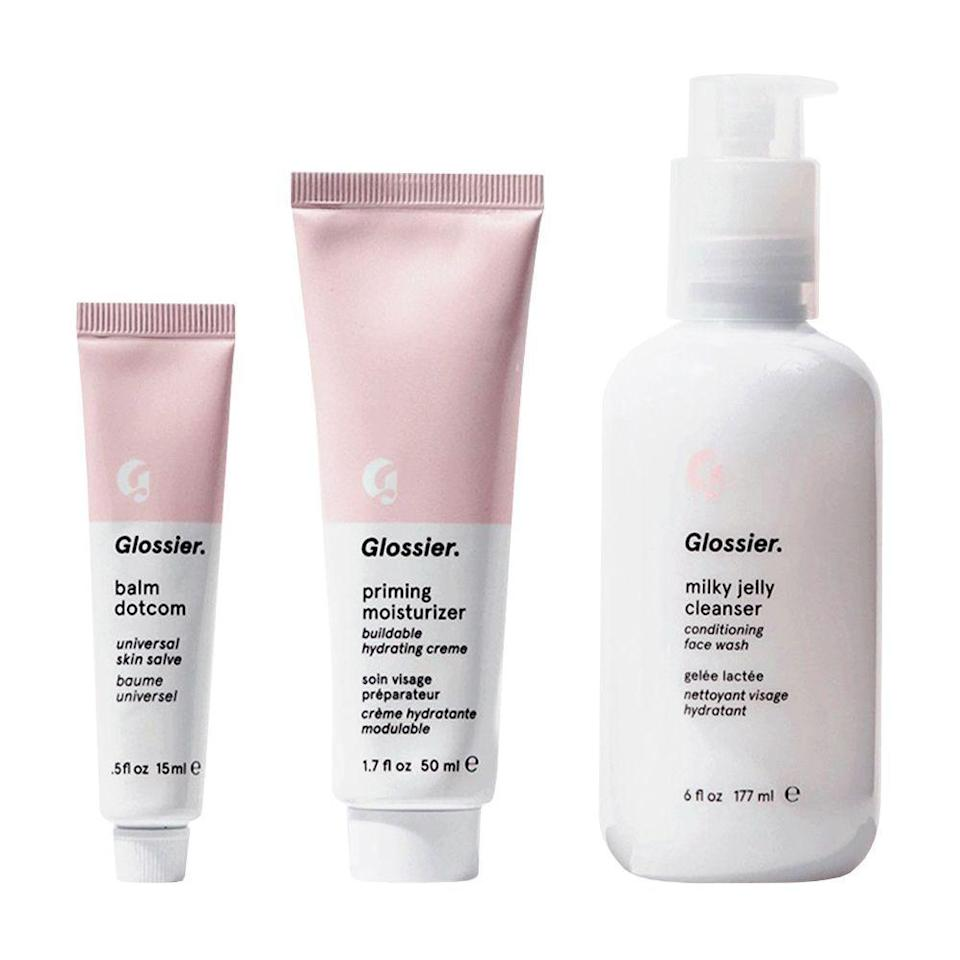 """<p><strong>Glossier </strong></p><p>glossier.com</p><p><strong>$40.00</strong></p><p><a href=""""https://go.redirectingat.com?id=74968X1596630&url=https%3A%2F%2Fwww.glossier.com%2Fproducts%2Fthe-skincare-set&sref=https%3A%2F%2Fwww.bestproducts.com%2Flifestyle%2Fnews%2Fg2100%2Fperfect-gift-ideas-under-100%2F"""" rel=""""nofollow noopener"""" target=""""_blank"""" data-ylk=""""slk:Shop Now"""" class=""""link rapid-noclick-resp"""">Shop Now</a></p><p>This three-step <a href=""""http://www.bestproducts.com/beauty/g267/body-and-bath-gift-sets-for-women/"""" rel=""""nofollow noopener"""" target=""""_blank"""" data-ylk=""""slk:skincare kit"""" class=""""link rapid-noclick-resp"""">skincare kit</a> from Glossier contains everything they need to get gorgeous, dewy skin. An included Milky Jelly Cleanser will get rid of makeup and grime, while the Priming Moisturizer will hydrate parched patches. To finish, the brand's coveted Balm Dotcom comes in your choice of flavor to soothe dry lips.</p>"""