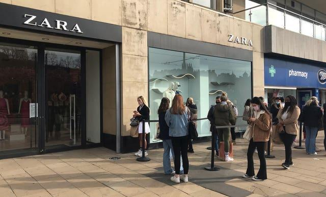 People queuing for Zara