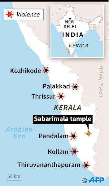 Map of Kerala in southern India (AFP Photo/Gillian HANDYSIDE)