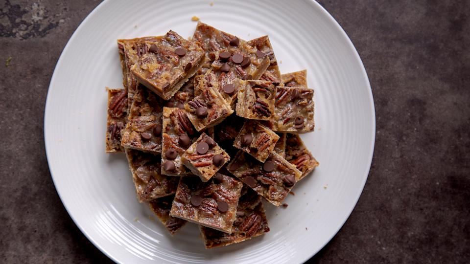 It took Zimmern ten years to get this recipe for caramel pecan bars from his Aunt Suzanne.