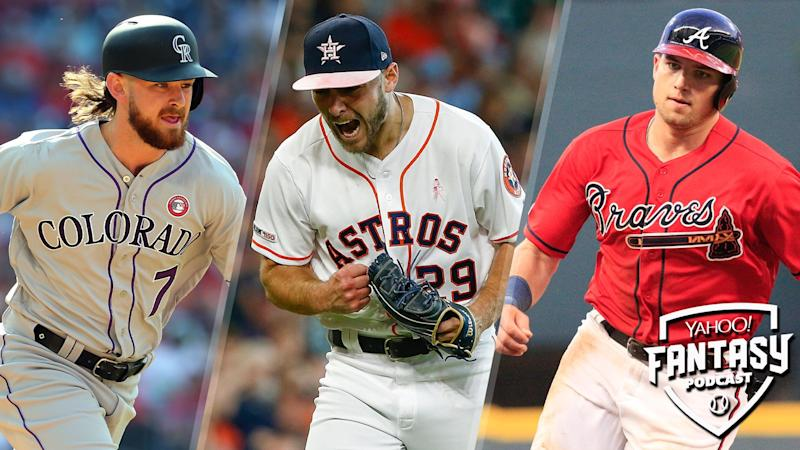 Scott Pianowski and Fred Zinkie discuss (L to R) Brendan Rodgers of the Colorado Rockies, Corbin Martin of the Houston Astros and Austin Riley of the Atlanta Braves on the latest Yahoo Fantasy Baseball Podcast. (Credit L to R: Rich Schultz/Getty Images; Bob Levey/Getty Images; David John Griffin/Icon Sportswire via Getty Images)