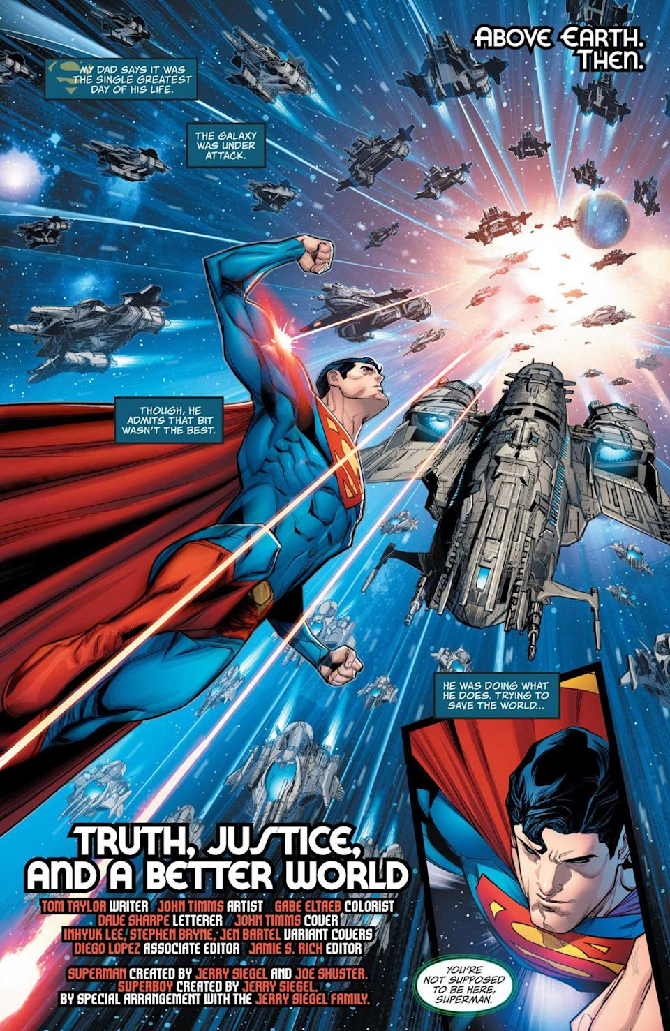 Page one of Superman: Son of Kal-El #1.