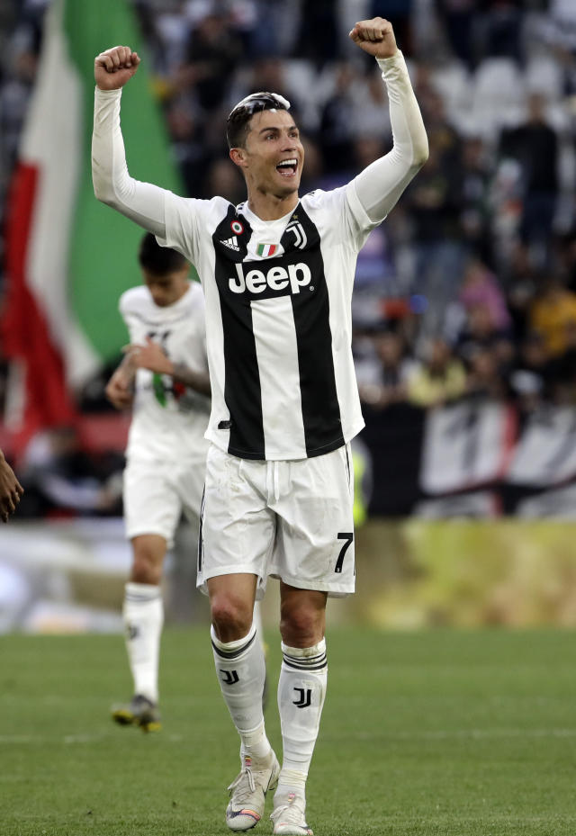 FILE - In this April 20, 2019 file picture, Juventus' Cristiano Ronaldo celebrates at the end of a Serie A soccer match between Juventus and AC Fiorentina, at the Allianz stadium in Turin, Italy. The Italian minister of sport Vincenzo Spadafora announced Thursday, May 28, 2020 that the Serie A will restart on June 20, to conclude the championship after the coronavirus stop. (AP Photo/Luca Bruno)