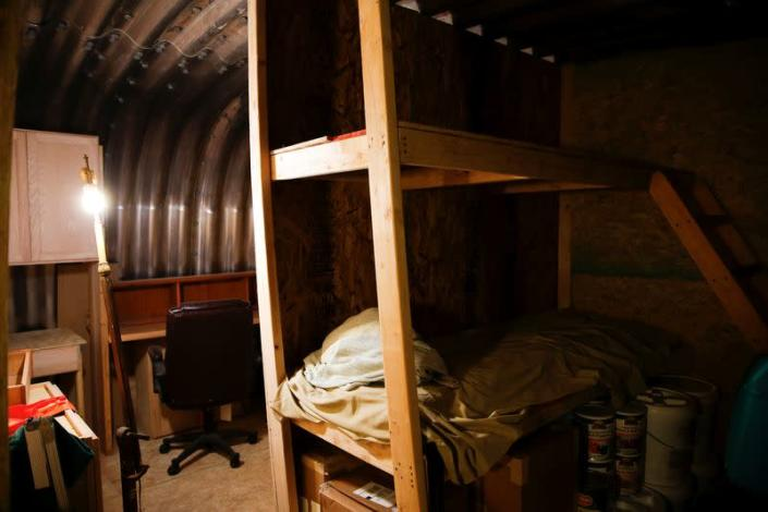 The interior of an underground bunker at a survival camp called Fortitude Ranch