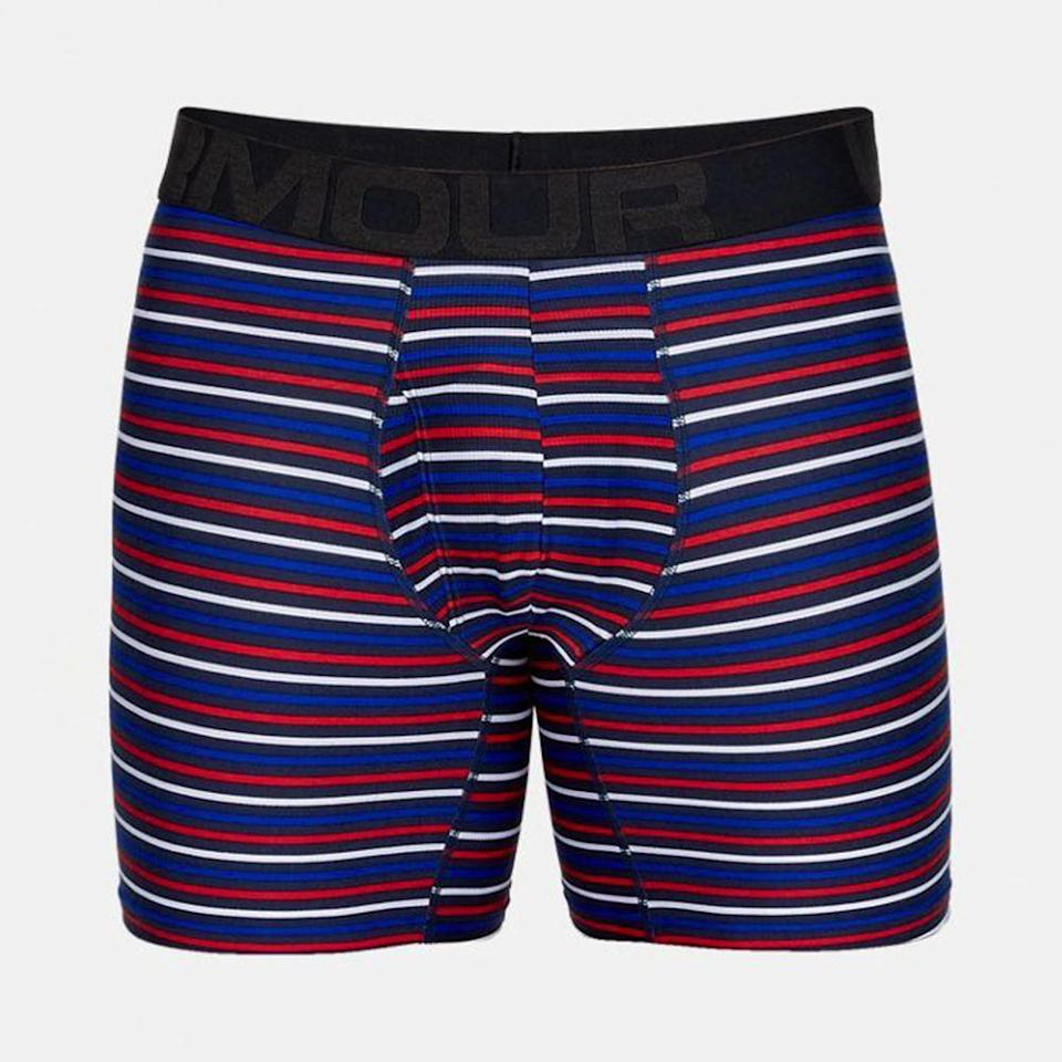 """<p><strong>Under Armour</strong></p><p>amazon.com</p><p><strong>$25.00</strong></p><p><a href=""""https://www.amazon.com/Under-Armour-Tech-Seasonal-Boxerjock/dp/B07CZJSS8D?tag=syn-yahoo-20&ascsubtag=%5Bartid%7C2139.g.19546347%5Bsrc%7Cyahoo-us"""" rel=""""nofollow noopener"""" target=""""_blank"""" data-ylk=""""slk:BUY IT HERE"""" class=""""link rapid-noclick-resp"""">BUY IT HERE</a></p><p>Like any great pair of athletic boxers, this option has anti-odor and moisture-wicking technology with four-way stretch, but what sets Under Armour's Tech underwear apart from the rest is the additional comfort of the mesh fly panel and seamless side and back. </p>"""