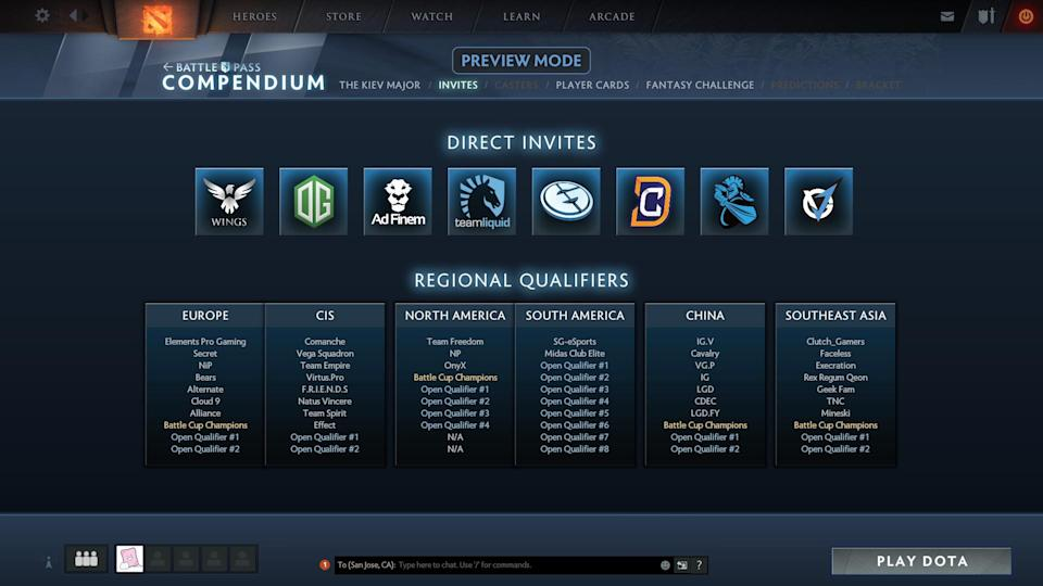 The teams who have been invited. (Valve)