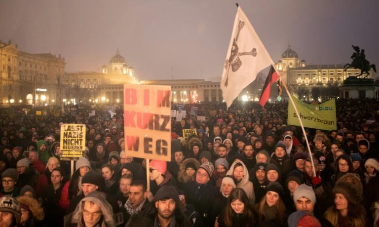 Protesters rally against Austria's lurch to the right at Vienna's Heldenplatz