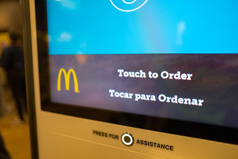 Automated touch screen ordering system at McDonald's fast food restaurant in Santa Nella, California, allowing visitors to place their order and receive their food via a large touch screen interface, October 24, 2018. (Photo by Smith Collection/Gado/Getty Images)