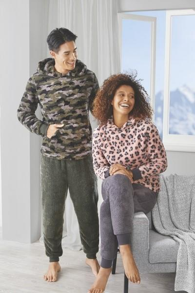 Adult's Ski Fleece Twosies, including a hooded pull over and matching pants, $19.99. Photo: Aldi (supplied).