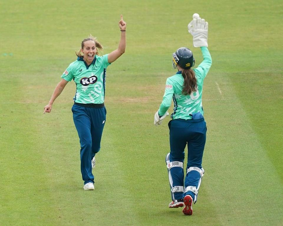 """Tash Farrant admitted she is """"emotional"""" about the prospect of a final at the home of cricket after the Oval Invincibles produced a flurry of late wickets to secure a 20-run victory over Birmingham Phoenix and reach the women's Hundred final (Yui Mok/PA) (PA Wire)"""