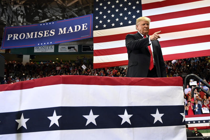 President Donald Trump at a rally in Florida on Wednesday night. (Associated Press)