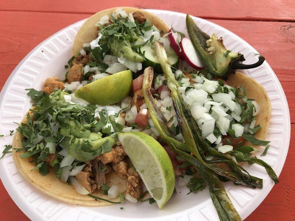 """<p><strong><a href=""""https://www.yelp.com/biz/tacos-el-azteca-norwalk"""" rel=""""nofollow noopener"""" target=""""_blank"""" data-ylk=""""slk:Tacos El Azteca"""" class=""""link rapid-noclick-resp"""">Tacos El Azteca</a>, Norwalk</strong></p><p>""""There are a lot of taco places in Norwalk, but this taco truck has the best ones in town and at the best price. I recommend trying all of their tacos—they are $2 each (except the shrimp which costs $2.50)."""" – Yelp user <a href=""""https://www.yelp.com/user_details?userid=K5XtfSYVXIHpEJ7a6yleuQ"""" rel=""""nofollow noopener"""" target=""""_blank"""" data-ylk=""""slk:Sebastian C."""" class=""""link rapid-noclick-resp"""">Sebastian C.</a> </p><p>Photo: Yelp/<a href=""""https://www.yelp.com/user_details?userid=Rbh8rOMmgYyEBvJipgRtOQ"""" rel=""""nofollow noopener"""" target=""""_blank"""" data-ylk=""""slk:Rob P."""" class=""""link rapid-noclick-resp"""">Rob P.</a></p>"""