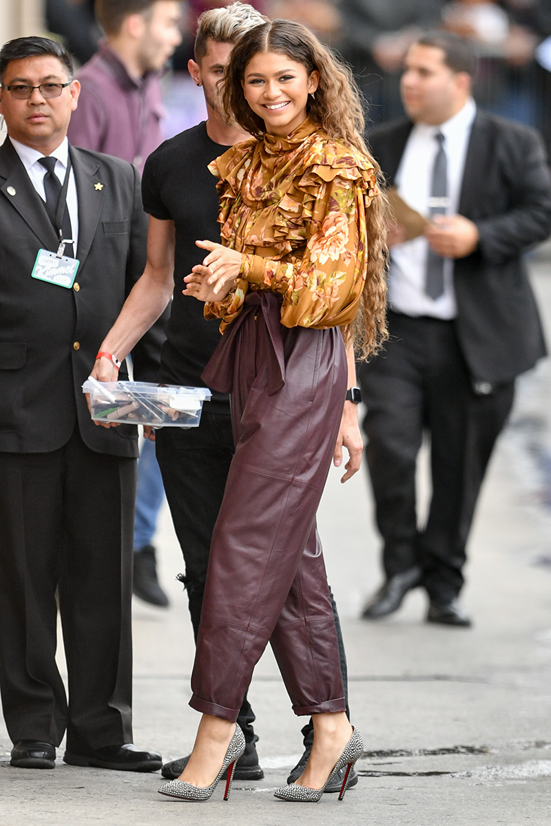<p>The leather, the pleats, and that incredible printed blouse. What. A. Look.</p>
