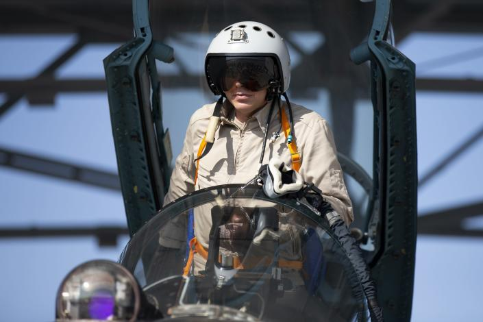 CAPTION CORRECTS PLANE TYPE - Russian air force pilot Ivan, no second name given, prepares to take off on a Russian Su-35 fighter jet at Hemeimeem air base in Syria, Thursday, Sept. 26, 2019. (AP Photo/Alexander Zemlianichenko)