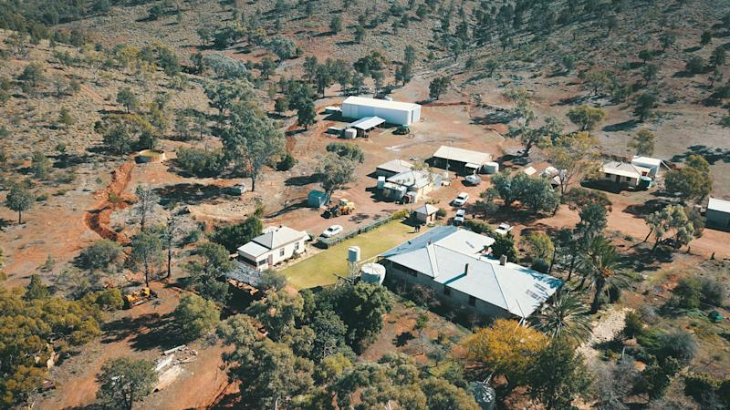 An aerial photo of Oulina Park Station where police are searching for the body of Tanja Ebert.. Source: SA Police