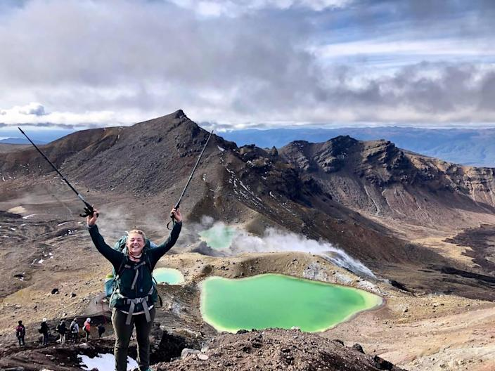 Claire Lewinski, of McCall, Idaho, poses in front of Mount Ngauruhoe – better known to Lord of the Rings fans as Mount Doom – in Tongariro National Park in New Zealand. Lewinski thru-hiked the Te Araroa trail as part of her recovery from multiple concussions.