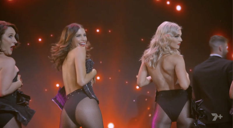 Sam Frost, Erin Holland, and Fiona O'Loughlin strip on stage