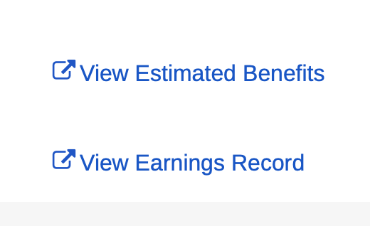 Social Security website link to view earnings record