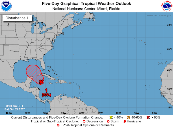 National Hurricane Center forecasters gave the system a 90% chance of development early Saturday.