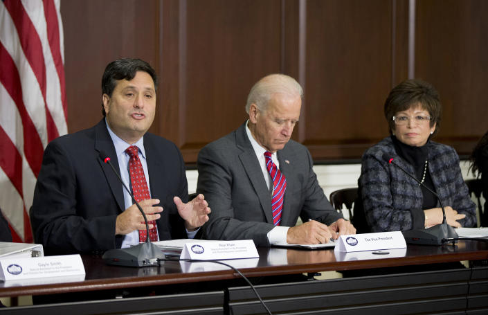 Ebola Response Coordinator Ron Klain, Vice President Joe Biden and White House Senior Adviser Valerie Jarrett at a November 2014 meeting in the Eisenhower Executive Office Building.
