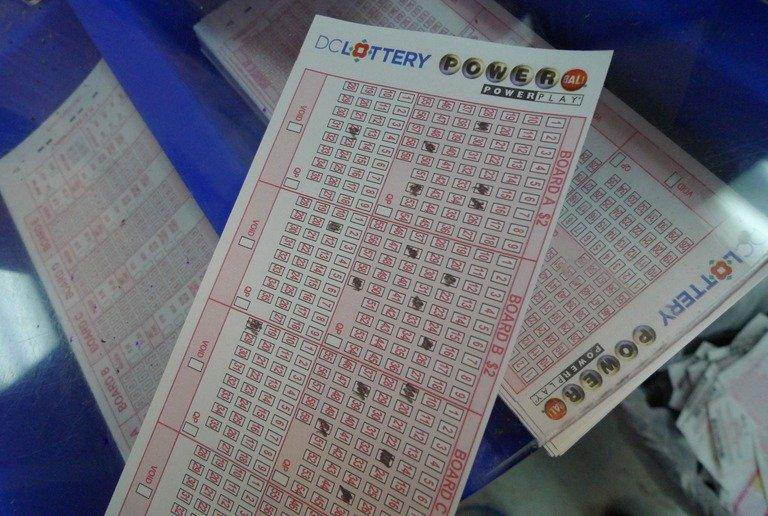 A Powerball lottery form is seen on May 18, 2013 in Washington DC