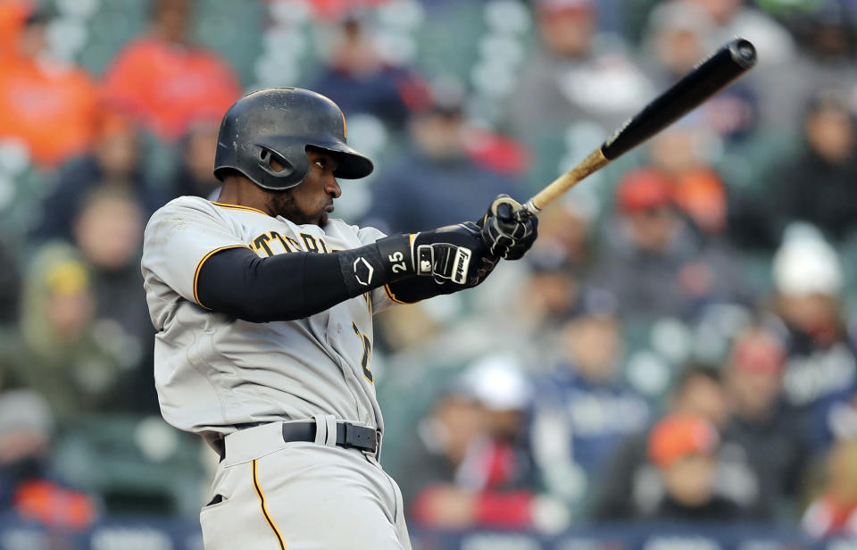 Pittsburgh Pirates' Gregory Polanco connects for a three-run home run during the 13th inning of a baseball game against the Detroit Tigers, Friday, March 30, 2018, in Detroit. (AP Photo/Carlos Osorio)