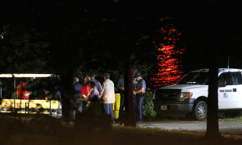 Emergency responders work at Table Rock Lake after a deadly boat accident in Branson, Missouri, Thursday.
