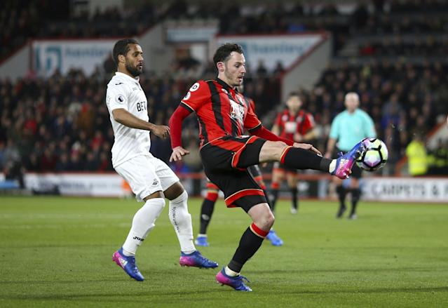 <p>AFC Bournemouth's Adam Smith controls the ball </p>