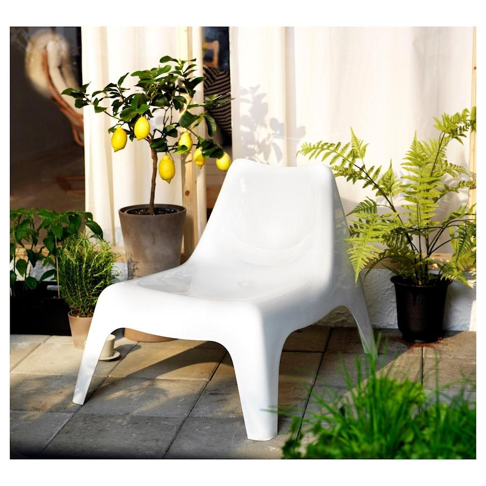 """<p>The <a href=""""https://www.popsugar.com/buy/Ikea-PS-V%C3%A5g%C3%B6-Chair-580754?p_name=Ikea%20PS%20V%C3%A5g%C3%B6%20Chair&retailer=ikea.com&pid=580754&price=30&evar1=casa%3Aus&evar9=46226851&evar98=https%3A%2F%2Fwww.popsugar.com%2Fhome%2Fphoto-gallery%2F46226851%2Fimage%2F47540411%2FIkea-PS-V%C3%A5g%C3%B6-Chair&list1=shopping%2Cfurniture%2Cikea%2Csummer%2Csmall%20space%20living%2Chome%20shopping&prop13=api&pdata=1"""" class=""""link rapid-noclick-resp"""" rel=""""nofollow noopener"""" target=""""_blank"""" data-ylk=""""slk:Ikea PS Vågö Chair"""">Ikea PS Vågö Chair</a> ($30) will last longer than you expect thanks to its UV-resistant plastic that prevents cracking, fading, and drying out.</p>"""