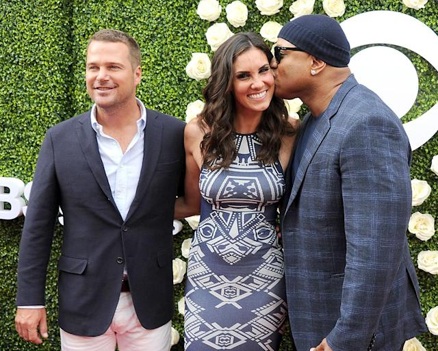 <p>Sure, ladies love cool James, but he loves his co-stars on <i>NCIS: Los Angeles</i>, Chris O'Donnell and Daniela Ruah. The trio hit the red carpet together in L.A. for the CBS Television Studios Summer TCA Party. (Photo by Gregg DeGuire/Getty Images) </p>