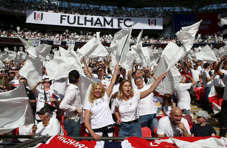 Fulham fans at the 2018 play-off final at Wembley.